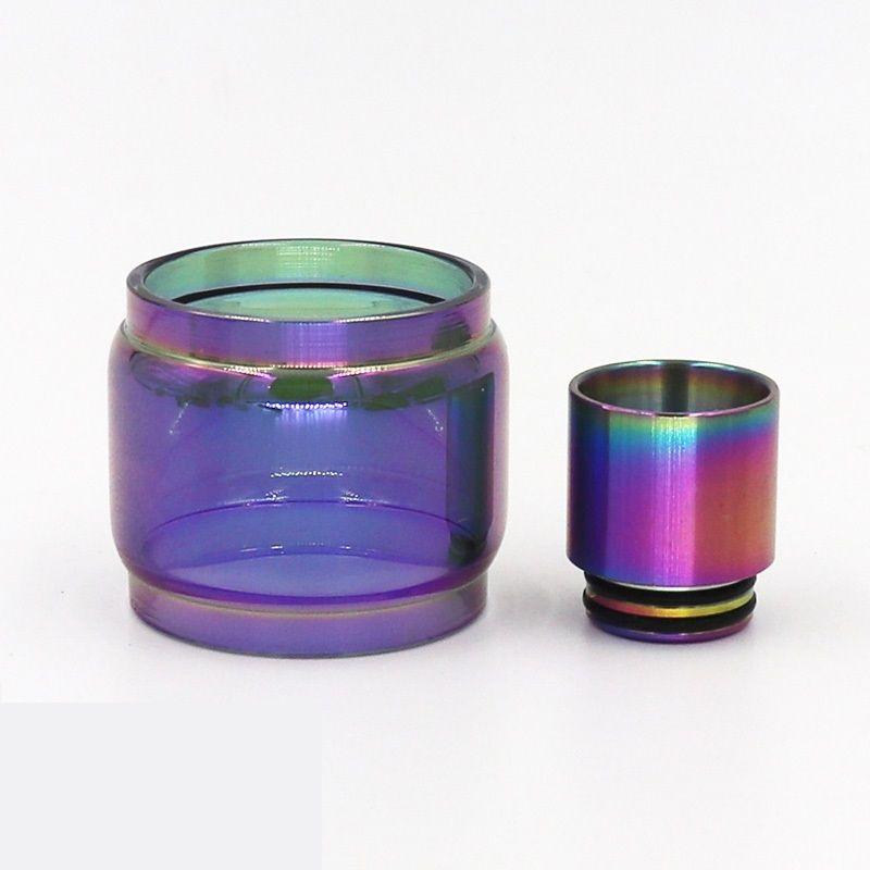 Rainbow Color Glass Tube and Metal Rainbow Drip tip Fit TFV12 Prince TFV8 BIG BABY Cleito 120 Valyrian Troll RTA Ecig DHL Free