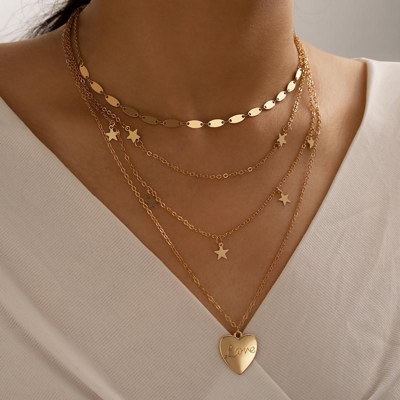 2021 novos coradores colares multicamadas borboleta coração amor amor charme pingente colar para mulheres moda jóias presente