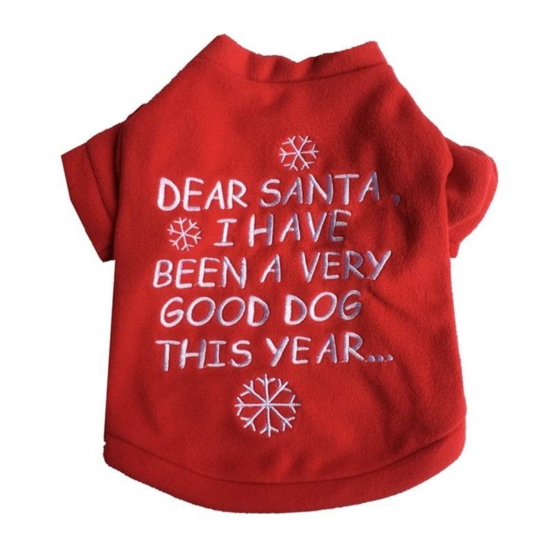 크리스마스 애완 동물 만화 개 옷 겨울 짙어지는 스웨터 전술 헝겊 강아지 투우 좋은 개 빨간 눈송이 높은 품질 7 5pp m2