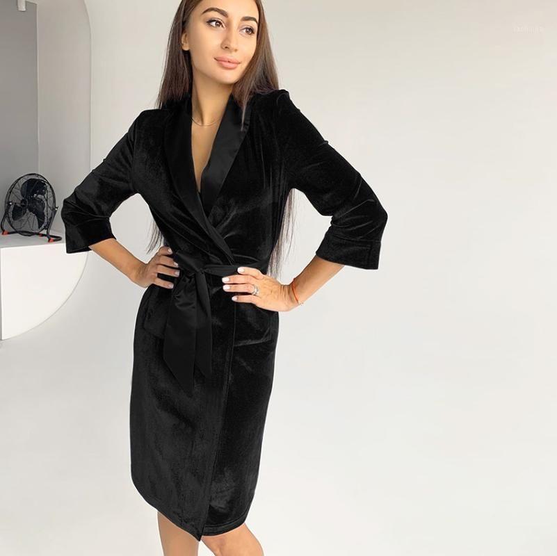 Heechan Bourgogne Velvet Robes Femmes Trois Quarter Sleeve Peignoir Chaud Black Home Wear Automne Sleepwear Loose Robe Femme 20201