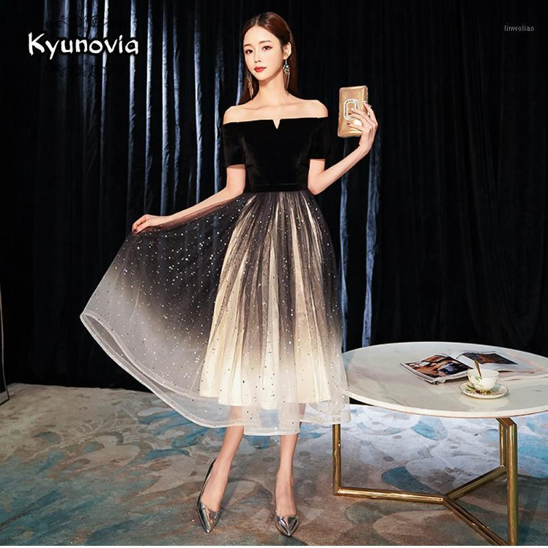 Kyunovia élégant épargne épaule a-line robe de soirée noire robe de bal robes de fête officielle E111