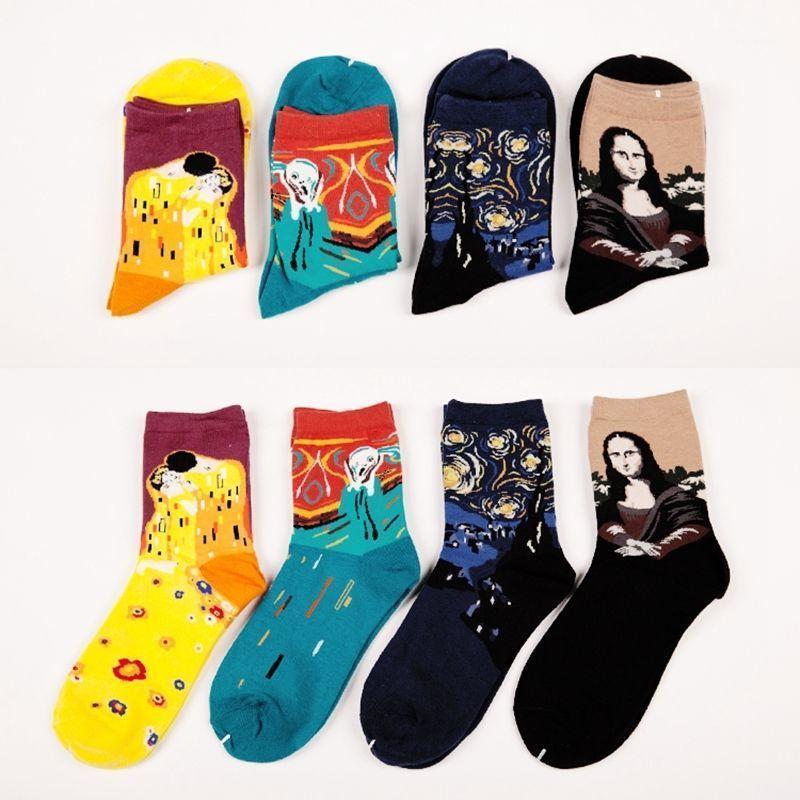 1 par quente moda retrô mulheres homens pintura mona lisa arte meias engraçado novidade estrelado noite confortável socks1