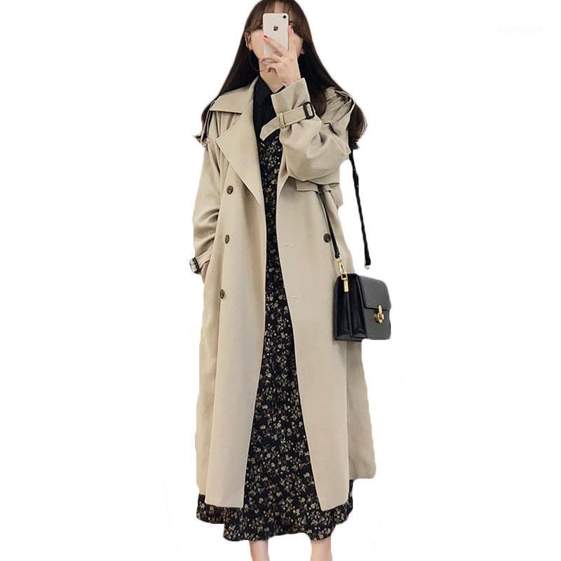 Fashion Grande Dimensione Allentato temperamento a vento 2021 Nuovo cappotto a metà lunghezza over-the-ginocchio primavera autunno trench cappotto per le donne M8781