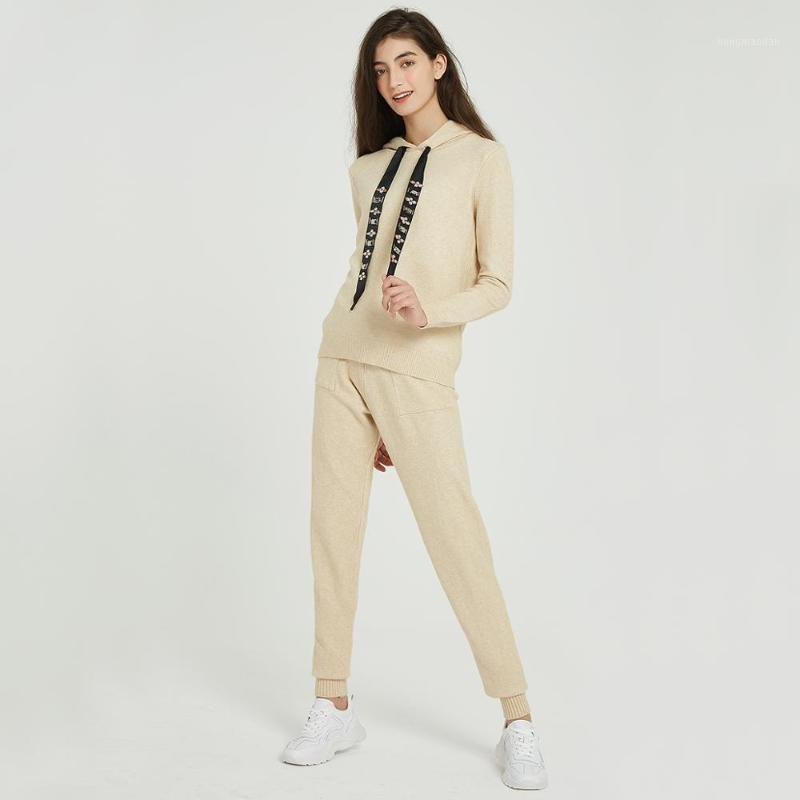 Women Sweater Suits and Set Casual Hooded Sweaters Knit Long Pants 2PCS Clothing Sets Track Suits Trousers+Jumpers1