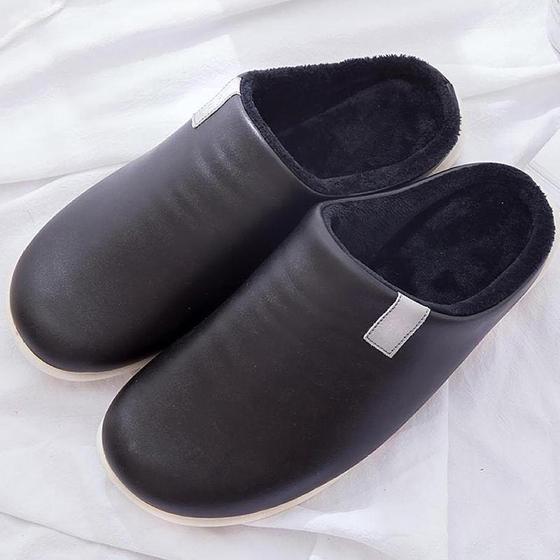 Kış Sıcak Terlik Erkekler Su Geçirmez Peluş Kadife Deri Terlik Erkekler için Rahat Pamuk Ev Terlikleri Kaymaz Yumuşak Kapalı Ayakkabı 201125