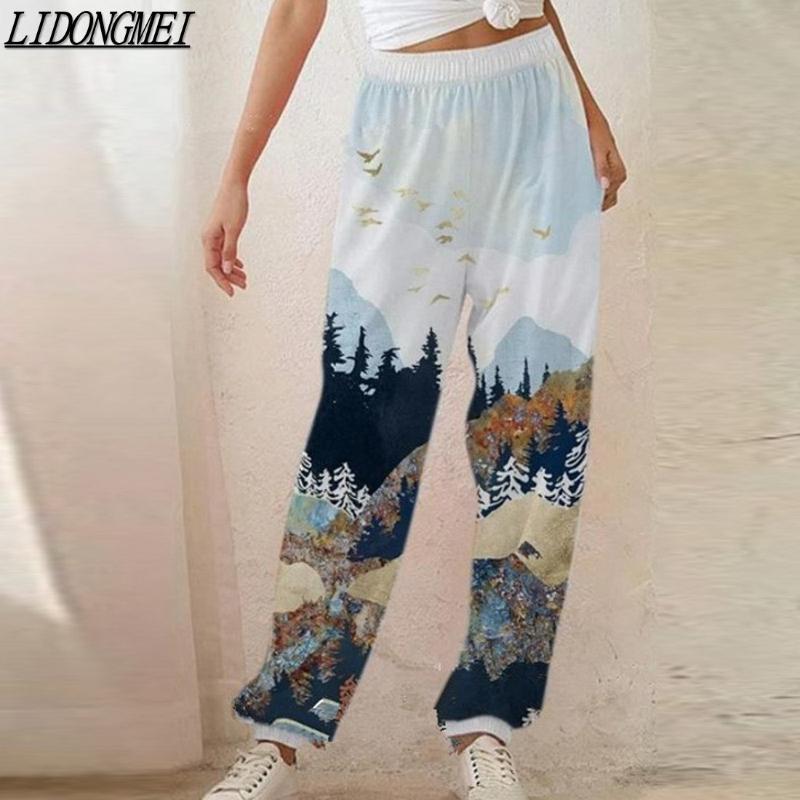 Sweatpants Baggy Gri Spor kadın Kış Pantolon Chic Joggers Geniş Bacak Büyük Boy Streetwear Yüksek Belli Pantolon Mizaç