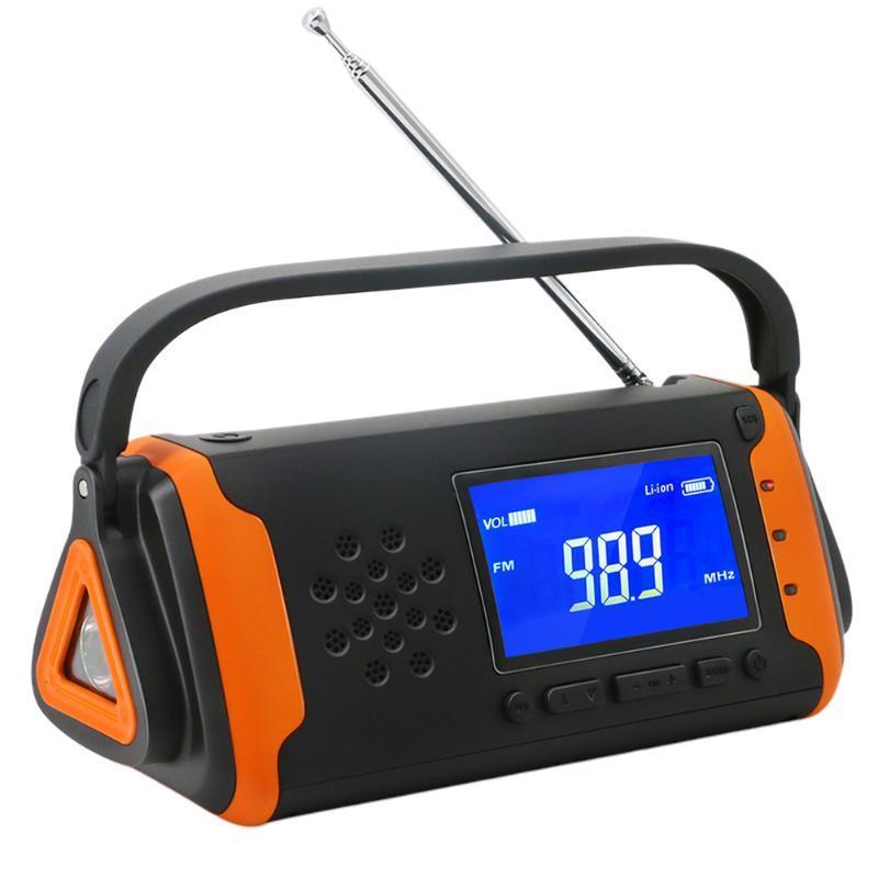 Radyo Açık Elektrikli LED Ekran USB Şarj Dinamo Güneş Enerjili El Krank Ev Taşınabilir Güç Bankası Acil