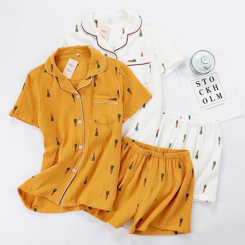 Conjunto comodidad del algodón del verano da vuelta-abajo ropa de noche de las mujeres Mujer precioso pijama de dibujos animados de zanahoria Impreso Homewear Pantalones cortos