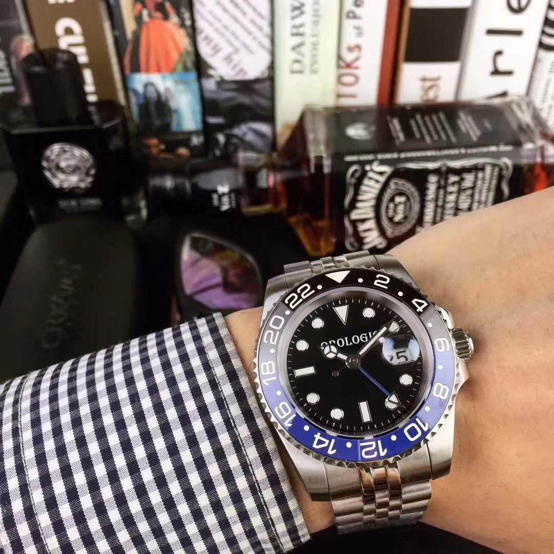 erkek Otomatik Mekanik Hareketi Deluxe Siyah Mavi Seramik Safir Dial Jubilee Bileklik Saat Relojes de lujo para hombre saatler