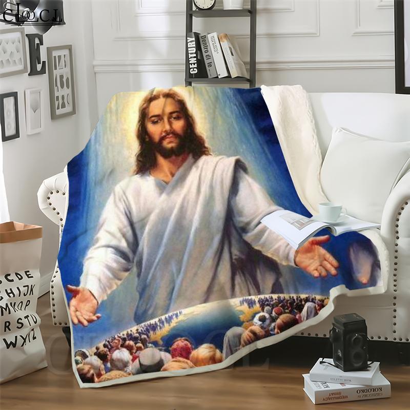 Cloocl Christian Jesús Hijo de Dios Impresión 3D Harajuku Aire acondicionado Manta Sofá Adolescentes Ropa de cama Tirar Mantas de peluche Edredón