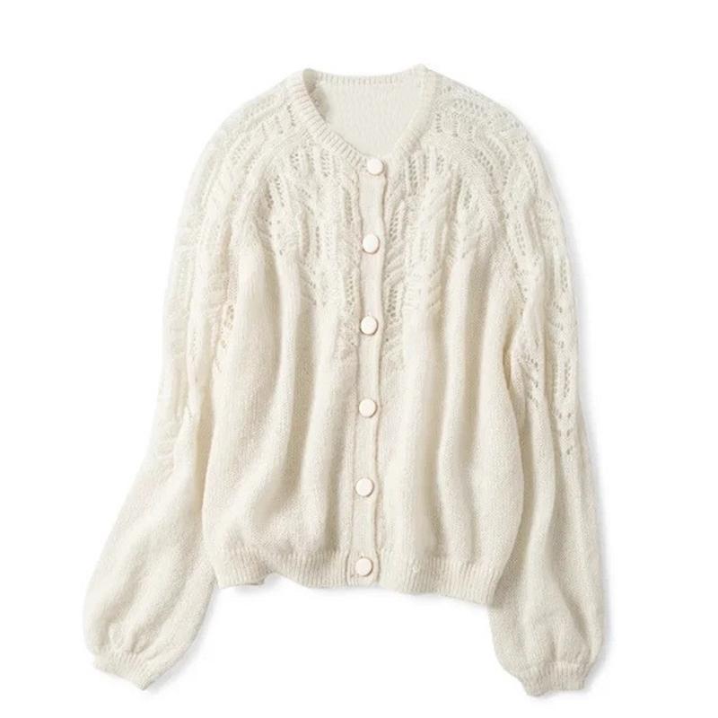 Spring Femmes Creux Cardigan tricoté Cold-Col Couleur Solide Couleur Simple Simple Pull Tricotwear 200923