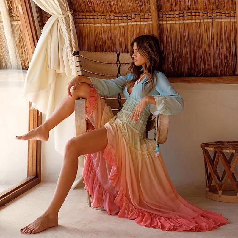 Mesdames été Boho Maxi Dress Casual Femmes dégradé arc-en-Volants Robe plissée plage irrégulière maille en mousseline de soie Robe XXL