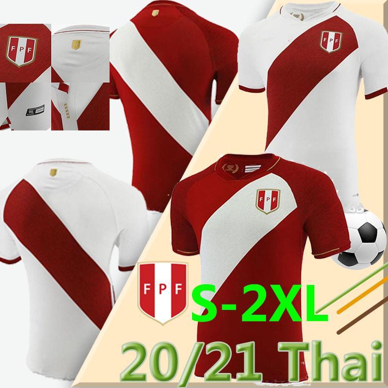 2020 2021 Perú Camisetas de Fútbol Home White White Away Red Guerrero Farfan Cueva Lapadula Lores Peru Fussball Trikots Männer Fußball Hemd Uniformen