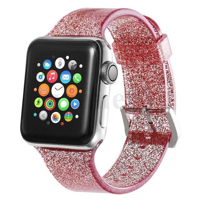 Transparent Bling glänzend wasserdichte Silikonband Uhrenarmband für Apple-Uhrenarmband 42mm 38 mm correa iwatch 4 3 2 Band 44mm40mm Zubehör