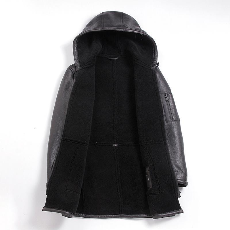 Erkek Giyim Deri Gerçek Kürk Koyun Kırpma Kış Coat Erkekler Kore Kapşonlu Yün Ceket
