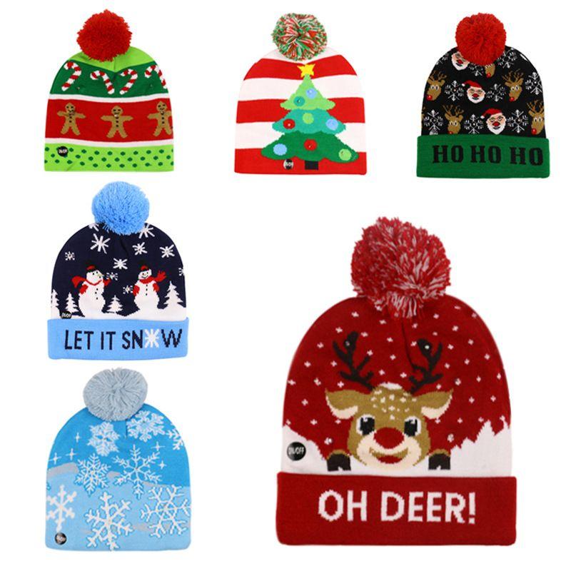 15 colors Led Christmas Halloween Knitted Hats Kids Baby Moms Winter Warm Beanies Pumpkin Snowmen Crochet Caps FWC2833