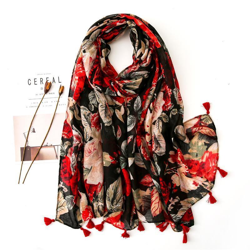 2021 Moda Impresión Seda Bufandas Otoño e invierno Nueva Hijab Scarf Lady Quality Playa Algodón Manteador Material de algodón Bufanda