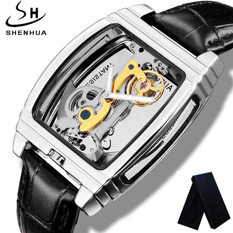 Montre-bracelet une marque unique shenhua transparent troubillon cadran authentique montre en cuir véritable homme automatique horloge mécanique relogio masculino avec bo