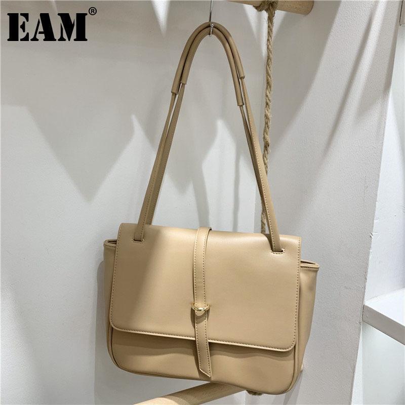 [Eam] Mulheres Nova Elegante Breves Bolsas De Lona Pu Couro Pessoualidade All-Match Crossbody Ombro Bag Fashion Maré 2021 18A1312