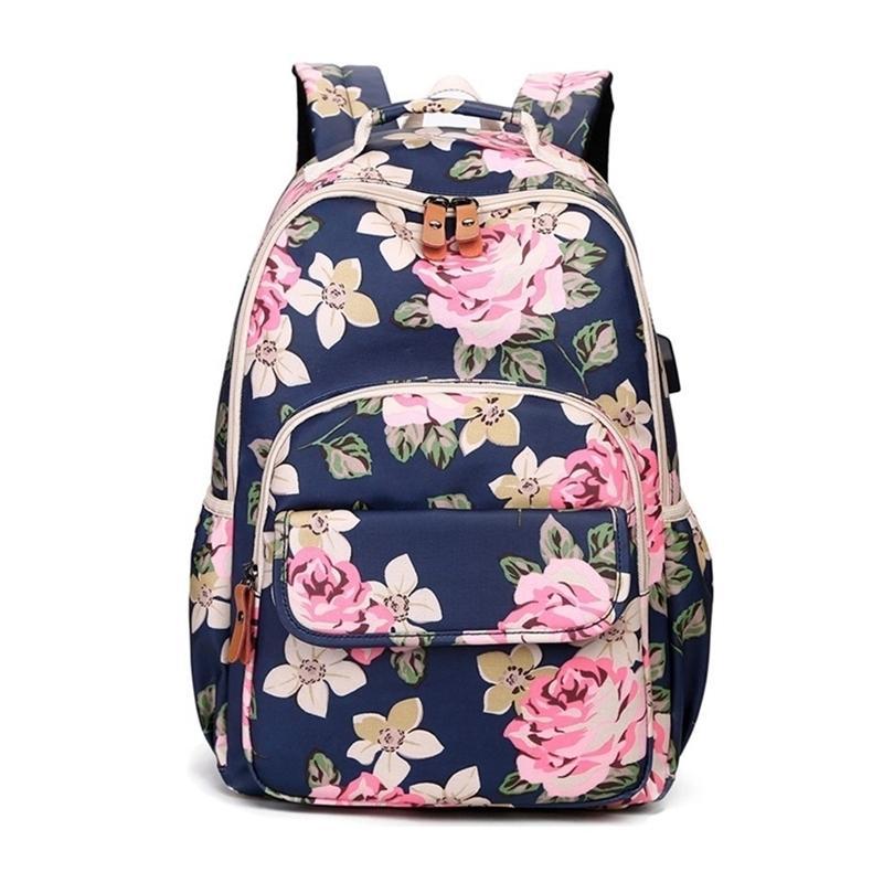 Okkid enfants fleur rose floral sacs filles adolescentes sac de livre mignons sacs à dos pour enfants fille école sac à dos Y200328