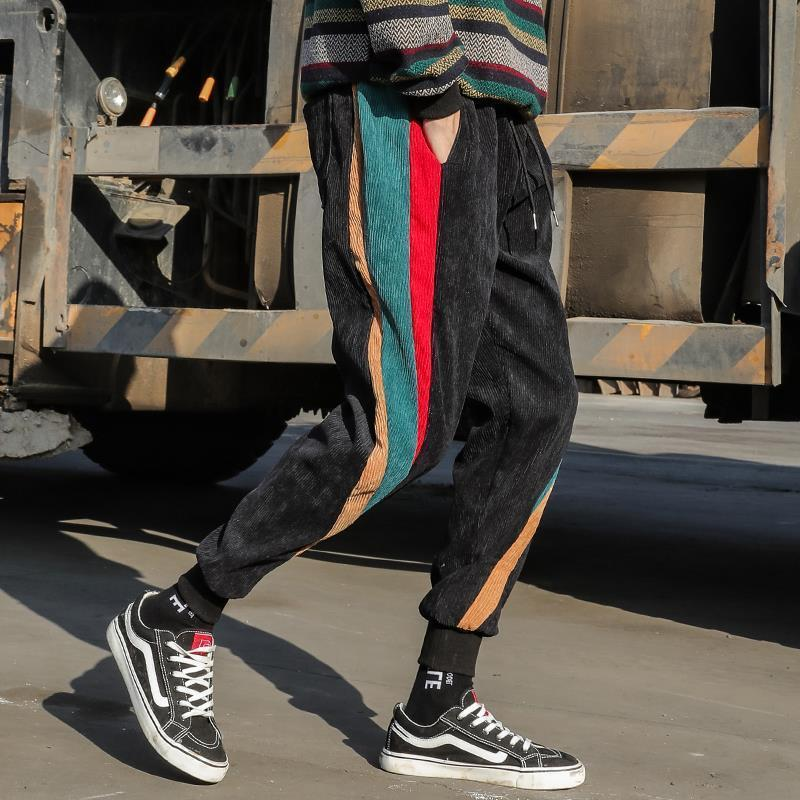 pantalones de los japoneses pantalones flojos de los hombres los hombres pantalones casuales pantalones pantalones de pana espesantes tendencia de invierno de los hombres