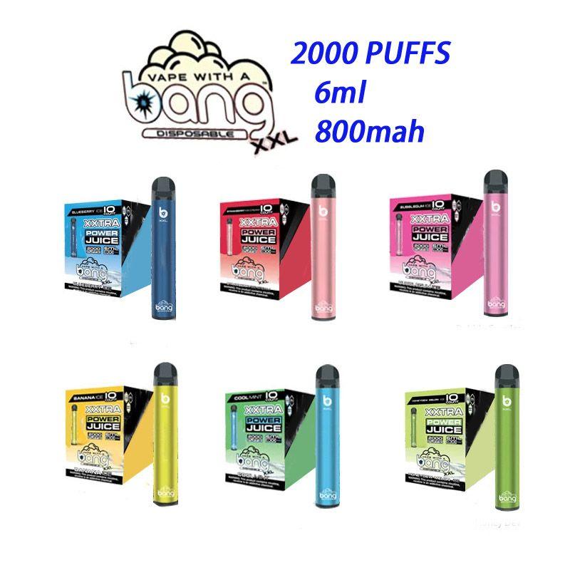 Bang XXL XTRA одноразовое устройство 800 мАч батарея 6 мл 2000 слойки предварительно заполненного розничной продавцы Vape Rideer Упаковка много цветов