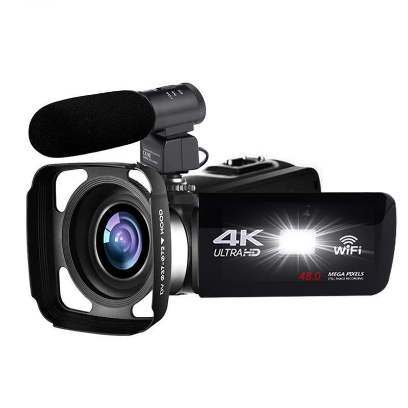 4K видеокамера 48mp Night Vision WiFi Управление цифровой камерой 3,0 дюймовый сенсорный видеокамера с микрофоном