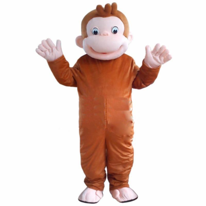 2018 Hot sale Curious George Monkey Mascot Costumes Cartoon Fancy Dress Halloween Party Costume Adult Size Free Shipping