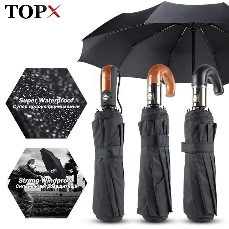 Classic Anglais Style Parapluie Hommes Automatique 10HIBS Pliage Plongeur de Parasols Résistant au vent Rain Femmes Qualité de l'entreprise Parasol 201110