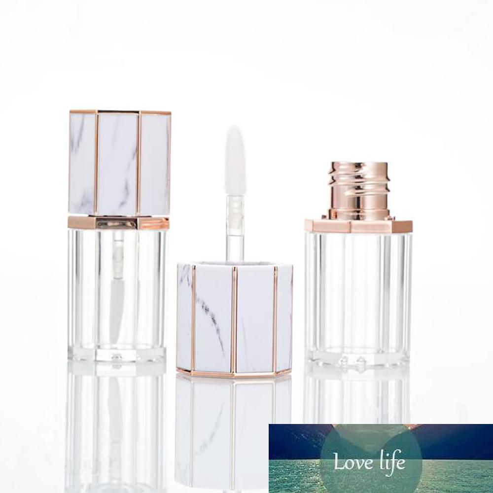 1pcs 5ml Vide Marbre Blanc Cap en plastique transparent Lip Gloss Tube Voyage bouteilles rechargées récipient cosmétique maquillage Outils