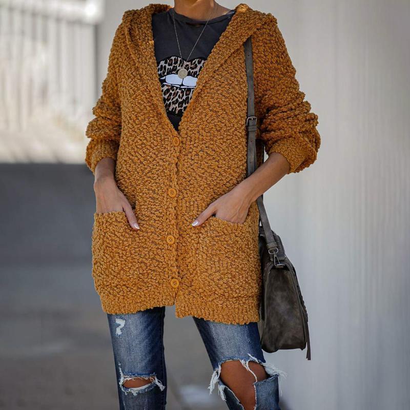 Autunno Inverno Felpa con cappuccio Maglia a manica lunga di lavoro a maglia del cardigan maglioni Pull Femme Solid Top Con Pocket femminile cardigan sottile