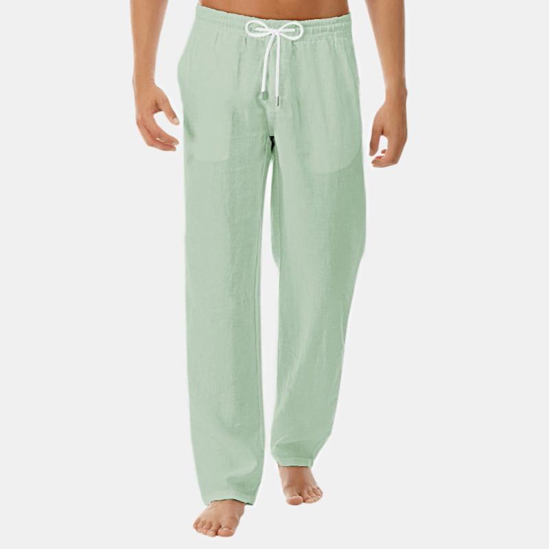 Pantalones Hombre Мода Хлопок Льняные Брюки Мужчины Повседневная Работа Сплошная Белая Эластичная Талия Streetwear Длинные Брюки Брюки1