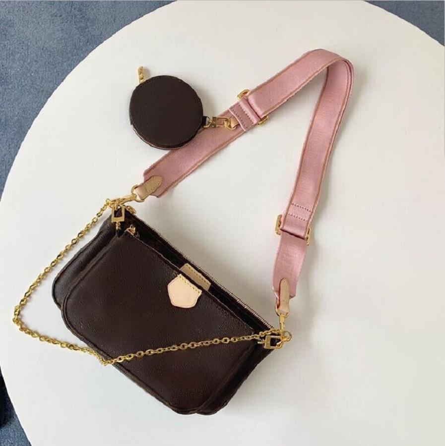 Hot Sale 3 piece set MULTI POCHETTE ACCESSORIES bags women crossbody bag Genuine Leather handbags purses lady tote bag Coin Purse three item