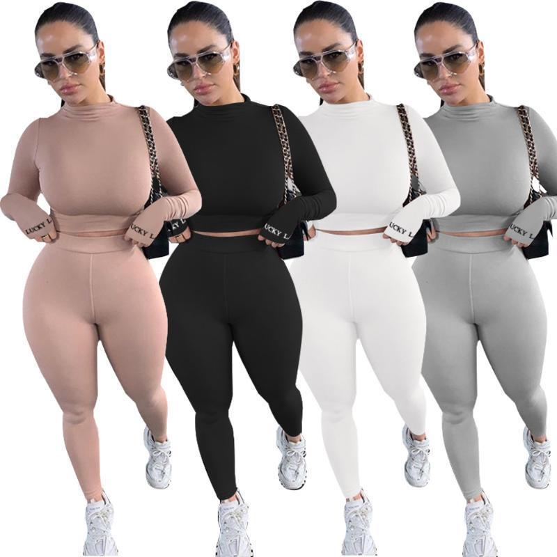 패션 여성 2 조각 스포츠웨어 기본 스키니 트랙스 솔리드 캐주얼 2 조각 바지 4 색으로 설정