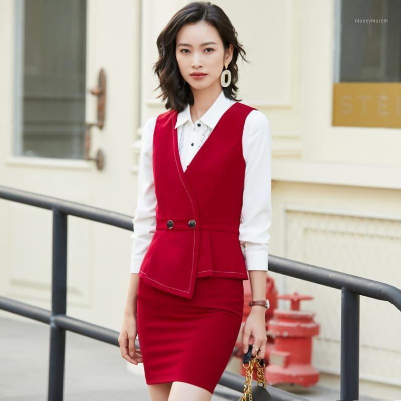 Çalışma Elbiseleri Bayanlar Kırmızı Yelek Kadınlar Business Suits Etek ve Yelek Setleri ile Katılımcılar Güzellik Salonu Ofis Üniforma Stilleri1