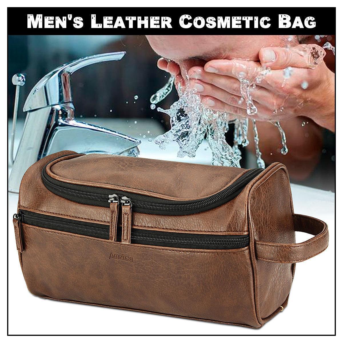 Sac de rangement de lavage en cuir vintage en cuir Vintage pour hommes GRAND VOYAGE TRAVAILLAGE Organisateur Étui pour Neceser Mujer Hombre LJ201008