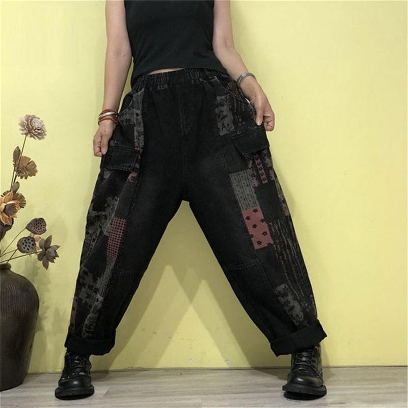 Otoño Nuevas Artes Estilo Mujeres Cintura Elástica Algodón Denim Harem Pantalones Vintage Imprimir Pantalones Pantalones Pantalones Pantalones Tallas M509 201225
