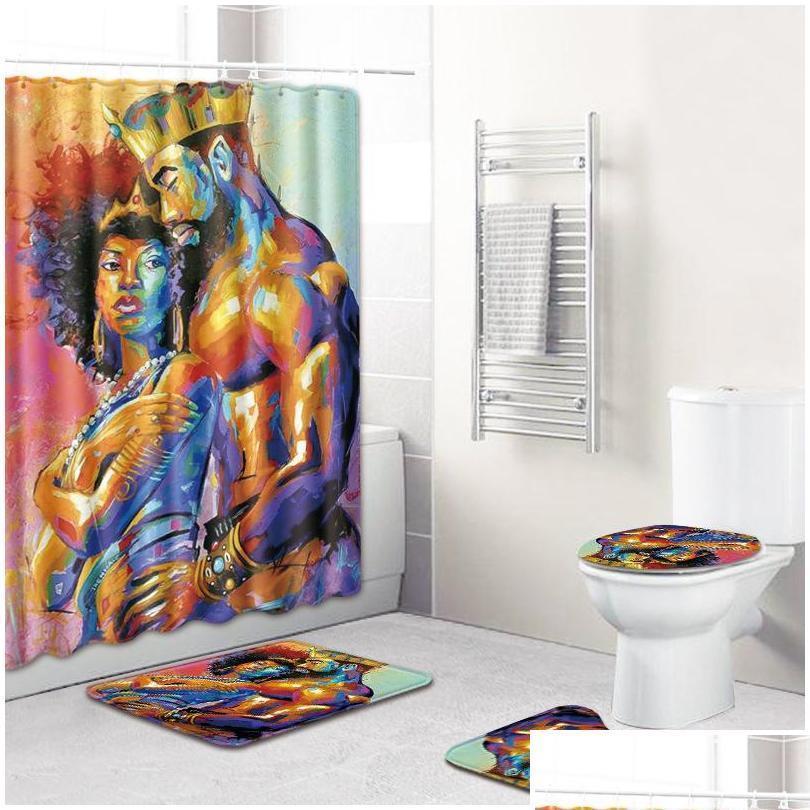 La tenda della doccia africana 4pcs tappeto da bagno set da bagno e uomini tappetini da bagno anti-slip tappetino tappetino tappetino per la casa Qyltrw Garden2010