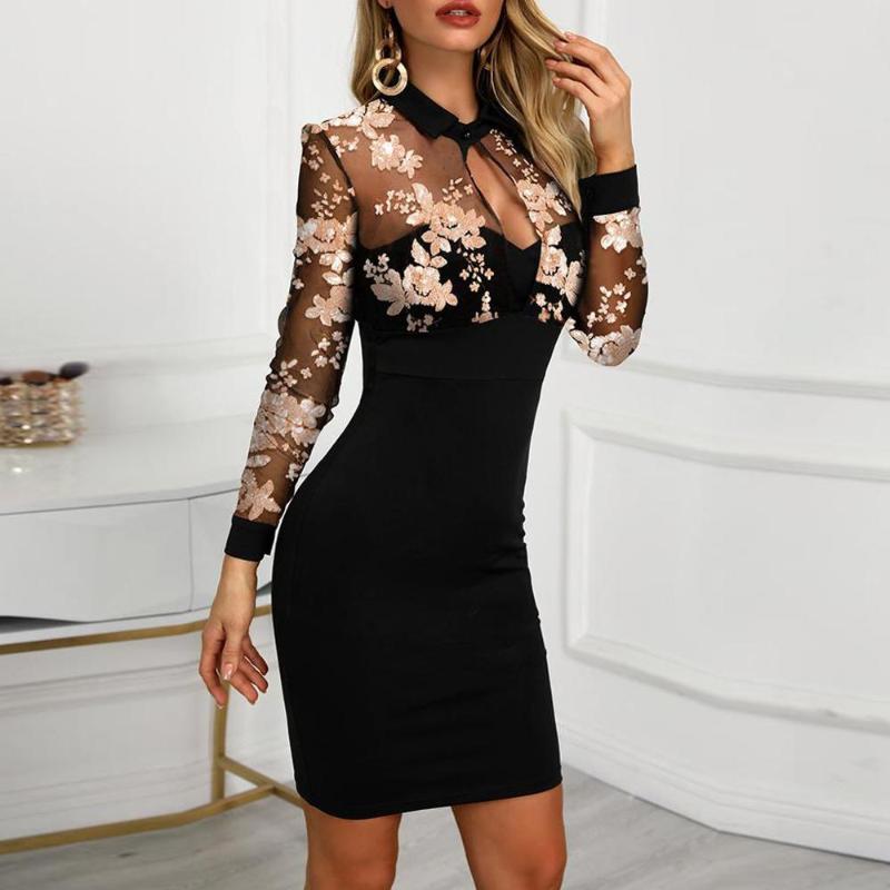 Moda Kadınlar Uzun Kollu Sheer Sequins Örgü Patchwork Rahat Çalışma Elbise Kadın Turn-down Yaka Kalem Elbise Giyim