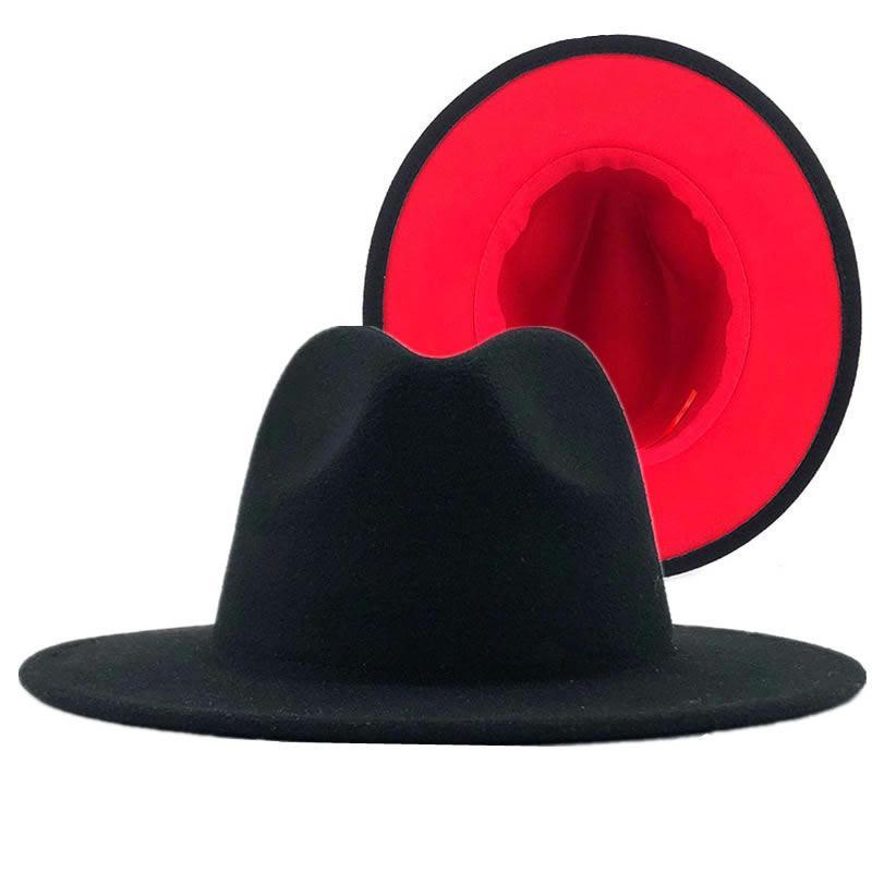 Moda Double-Sided azul com rosa quente de lã inferior Hat Homens Mulheres aba larga Panamá Jazz Fedora chapéus com feltro Banda Patchwok Hat