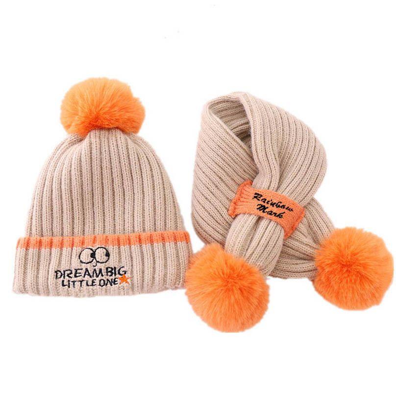 Winter baby hats+scarf 2pcs/set knitting wool baby beanies kids scarves boys cap girls hat kids Ring baby accessories B3667