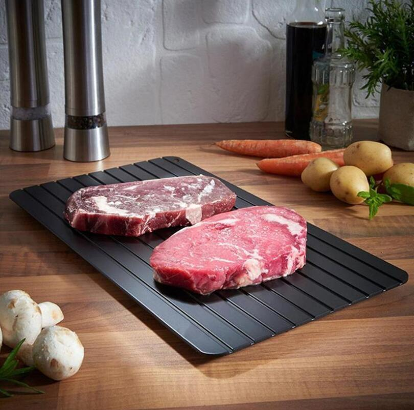 ذوبان اللوحة سريع تذلل صينية الذوبان لوحة المطبخ أسلم طريقة لإذرفة اللحوم المجمدة الغذاء معدن الألومنيوم حصيرة أدوات المطبخ WMQ302