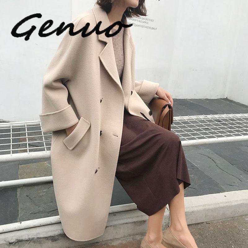 2020 New Woman Wool Coat High Quality Winter Jacket Women Slim Woolen Long Cashmere Woolen Coats Cardigan Elegant Blend1
