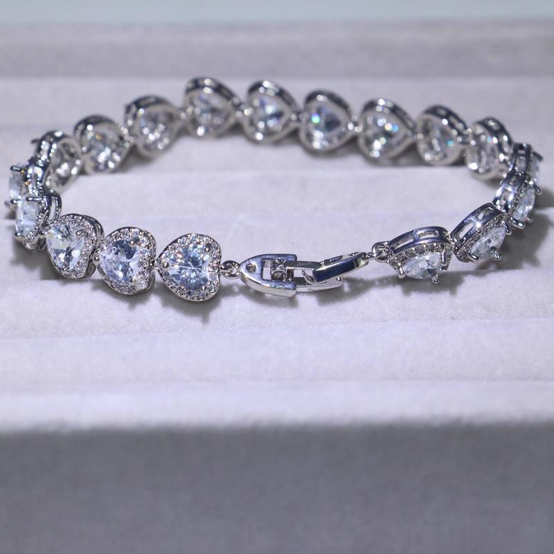 3 نمط فيكتوريا الفاخرة مجوهرات shinning 925 فضة كامل الأميرة قطع بيضاء توباز تشيكوسلوفاكيا الماس رومانيا سوار الزفاف للنساء