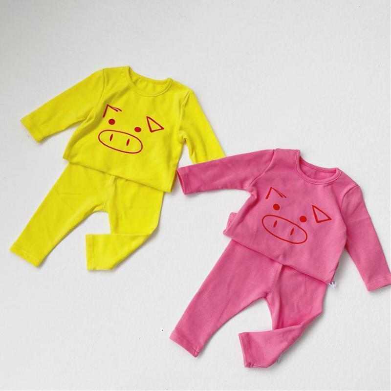 2021 Новые новорожденные девушки осень с длинным рукавом мальчики одежда 2шт наряды детей пижамы набор хлопчатобумажный детский трексуит Payl