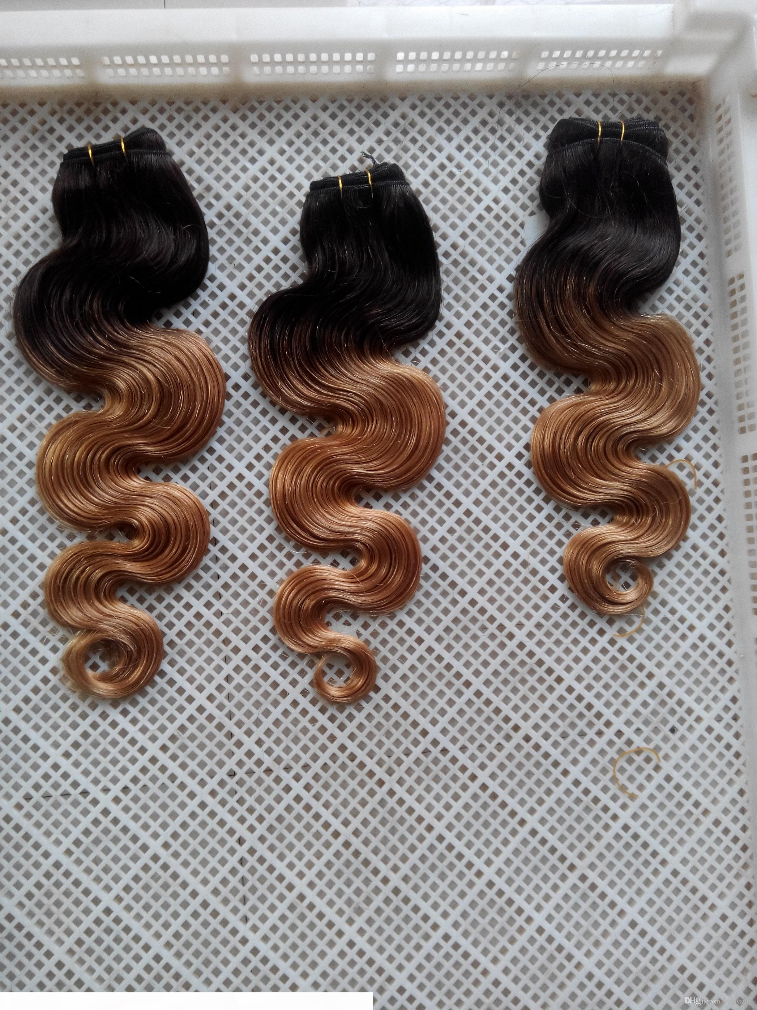 Similler 10-30 inchs Uzun Sentetik Vücut Dalga Saç Uzantıları Ombre İki Sesleri Çift Atkı% 100 İnsan Saç Dokuma