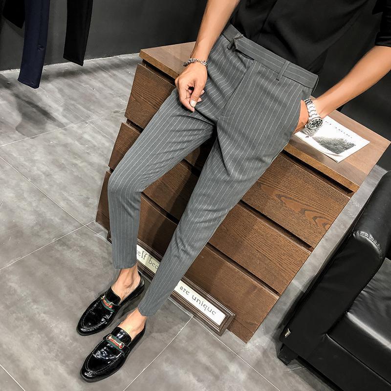 28-36 Erkekler Elbise Pantolon Slim Fit Streetwear Çizgili Egzersiz Ayak bileği Pantolon Erkek Moda Yaz Ofisi Pantolon Erkekler Skinny Suit Pant