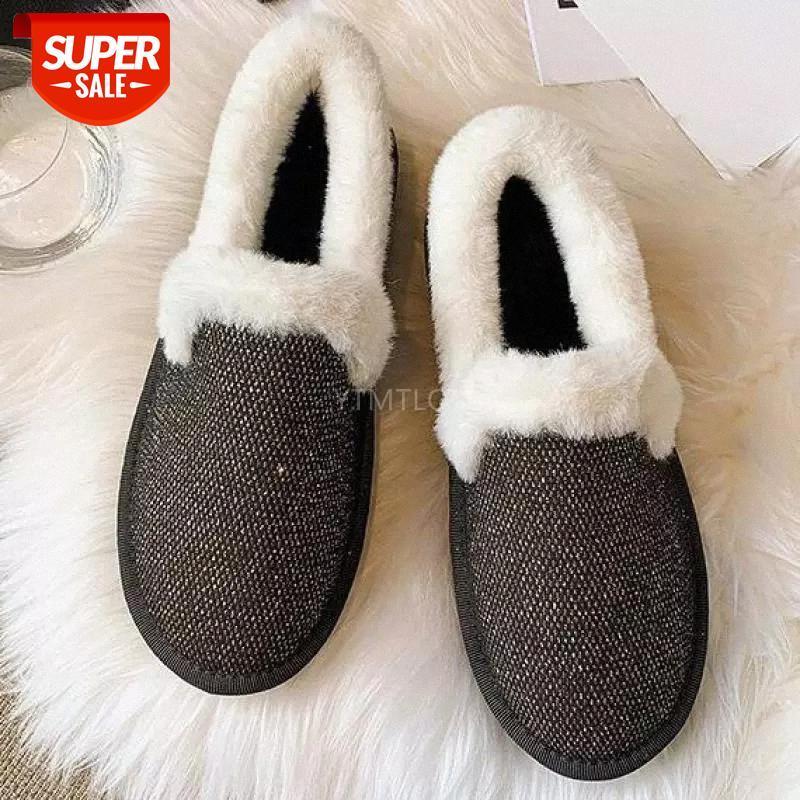 2021 Mocasines Piel Zapatos de punta Redonda Mujer Boca Poco Mujer Calzado Femenino Autumn Crystal All-Match Casual Winter Zapatos Planos Mujeres # K17G