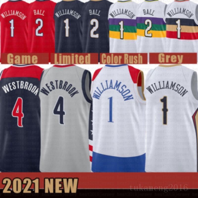 2021 New Zion 1 Williamson Basketball Jersey Lonzo 2 Bola Mens Russell 4 Westbrook Barato Preto