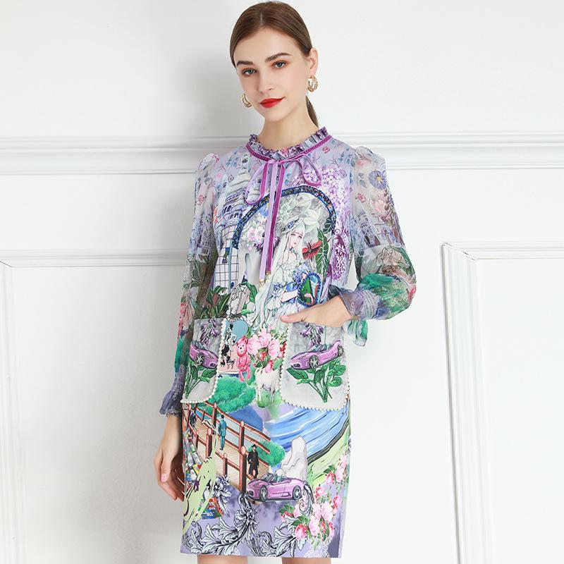 2021 Fashion Primavera ed Estate Colletto in pizzo Lotuso Foglia a maniche lunghe in vita a maniche lunghe